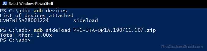 Sideload Android 10 OTA on Essential Phone using ADB
