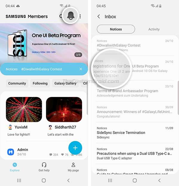 Open Samsung Members app and open 'Registration for One UI Beta Program' notice