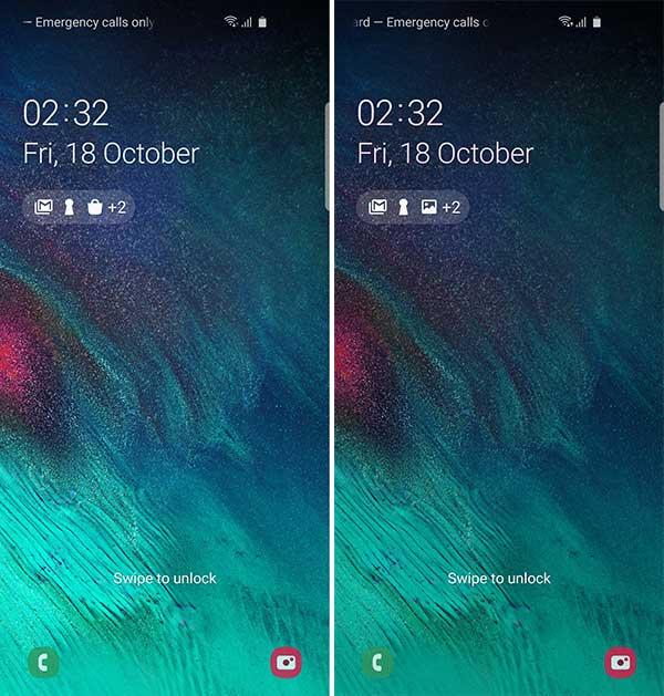 Samsung Galaxy S10 One UI 2.0 Beta - Dark Mode on Lock screen