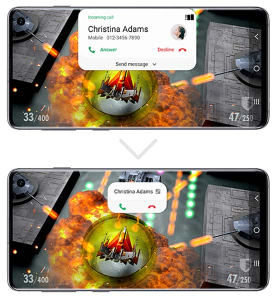 Samsung Galaxy S10 One UI 2.0 Beta - Minimized Caller Notification