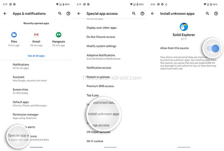 Install Google Play Services for AR - Enable 'Install unknown apps' in Settings