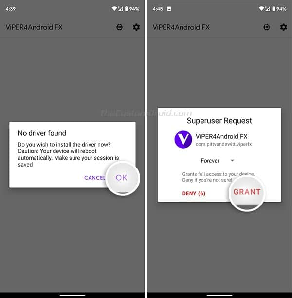 Install ViPER4Android Drivers and Grant Superuser Permissions when prompted