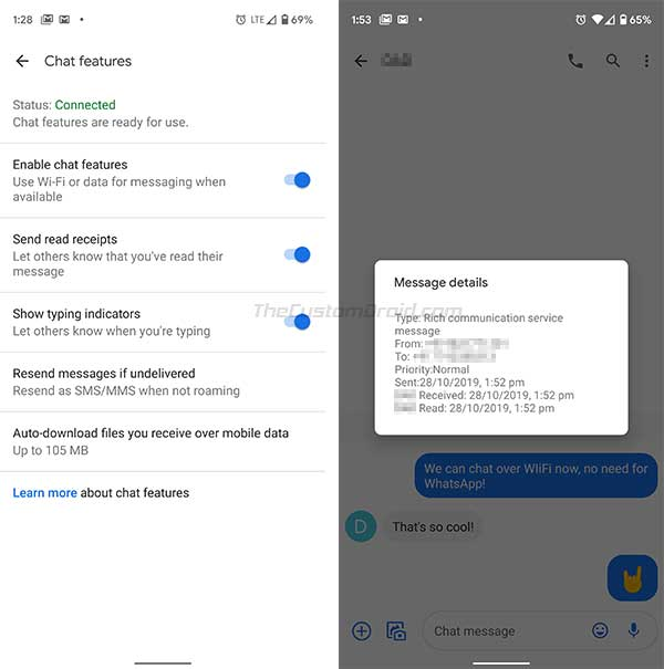 RCS Successfully enabled in Android Messages app