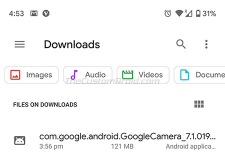 Tap on Google Camera 7.1 APK to Install it