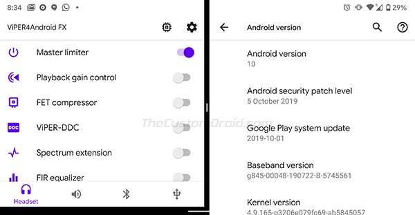 ViPER4Android Installed on Android 10 Q