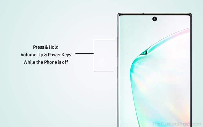 Нажмите и удерживайте клавиши увеличения громкости и питания, чтобы загрузить Galaxy Note 10 / Note 10+ в режим восстановления.