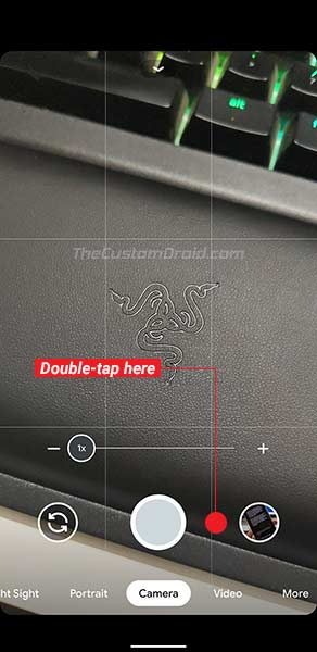 Double-tap on the area near the shutter button