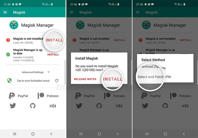 Select and Patch a File using Magisk Manager on Galaxy Note 10/10+
