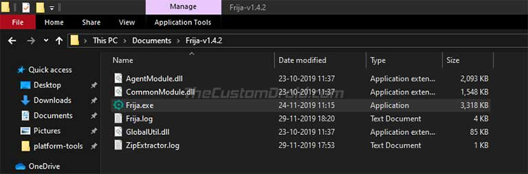 Double-click on the 'Frija.exe' executable file to launch Frija Tool
