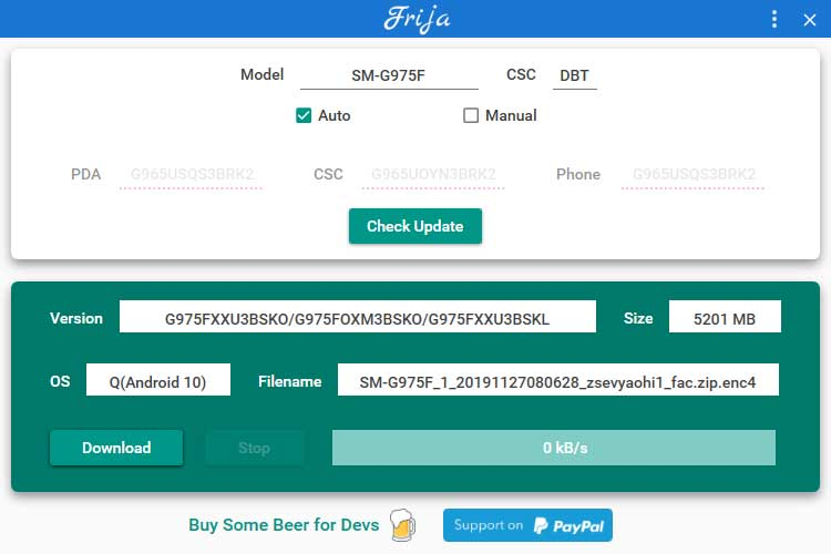 Frija Tool checks for latest stock firmware on Samsung Firmware Update Server