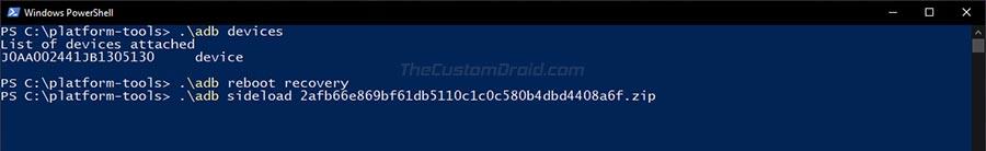 Enter ADB Sideload Command to Install OTA Update on Nokua 7.1
