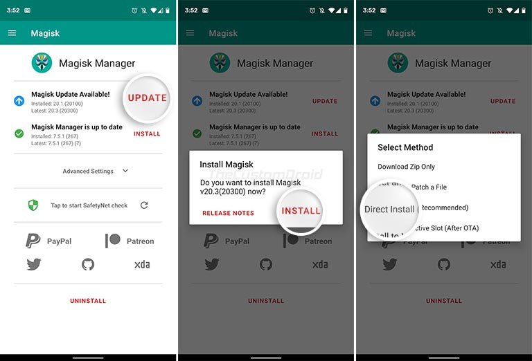 Update Magisk 20.3 Stable using Magisk Manager