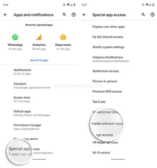 Enable 'Install Unknown Apps' on Android Oreo and Above - Go to 'Advanced' and Select 'Special app access'