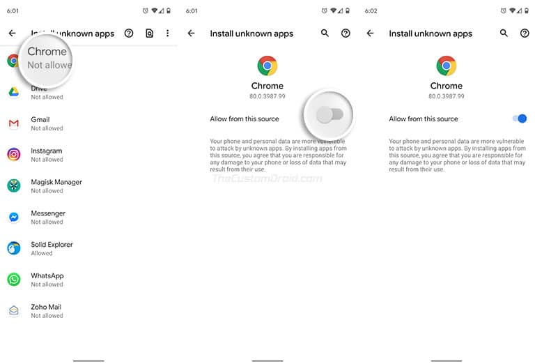 Enable 'Install Unknown Apps' on Android Oreo and Above - Turn on 'Allow from this source'