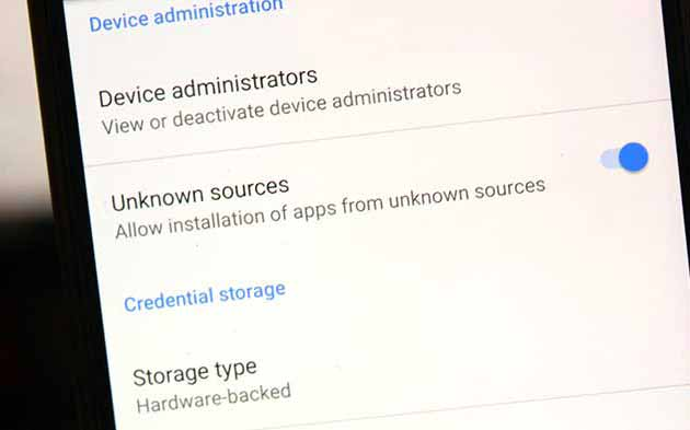 Enable 'Unknown Sources' on Android Nougat and below