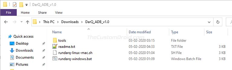 Step 3: Extract DarQ ADB Script File on the PC