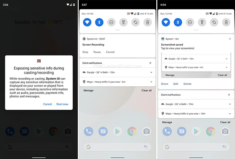 Use Android 10 Screen Recording Feature - Select 'Start now' to record screen