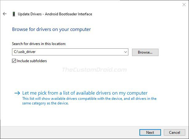 Click on 'Next' to Install the Google USB Drivers on Windows 10