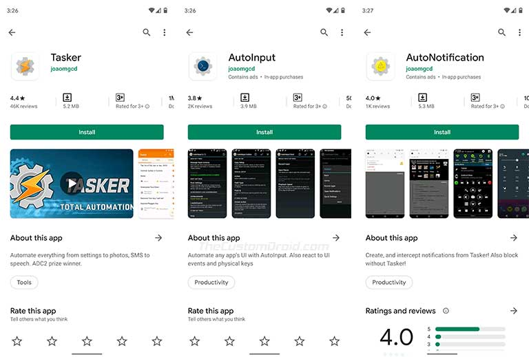 Install the Tasker app and required addons on your Android device