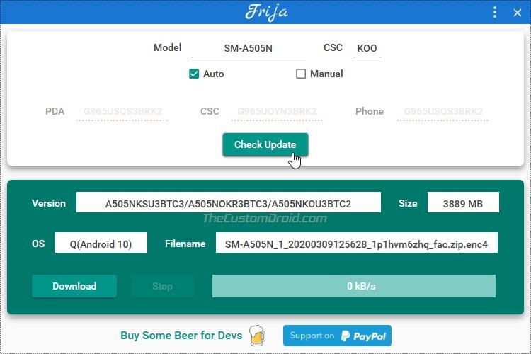 Загрузите прошивку Android 10 для Samsung Galaxy A50 с помощью Frija Tool
