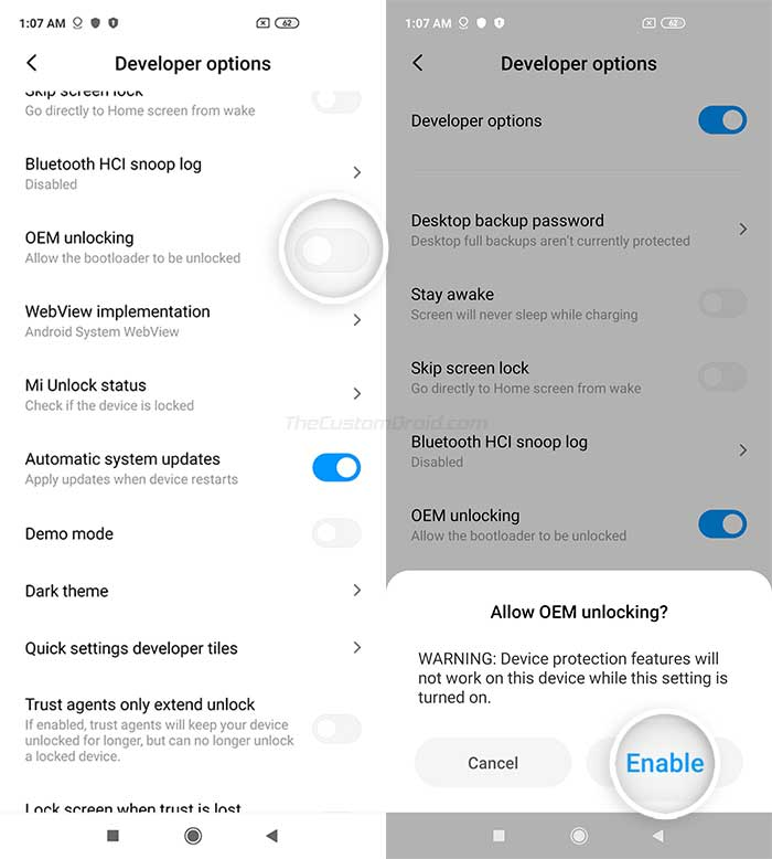 Enable the 'OEM unlocking' switch on your Xiaomi Device