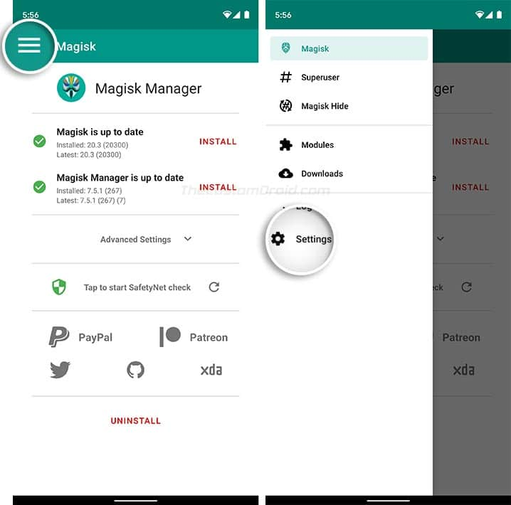Go to Magisk Manager's Settings Menu