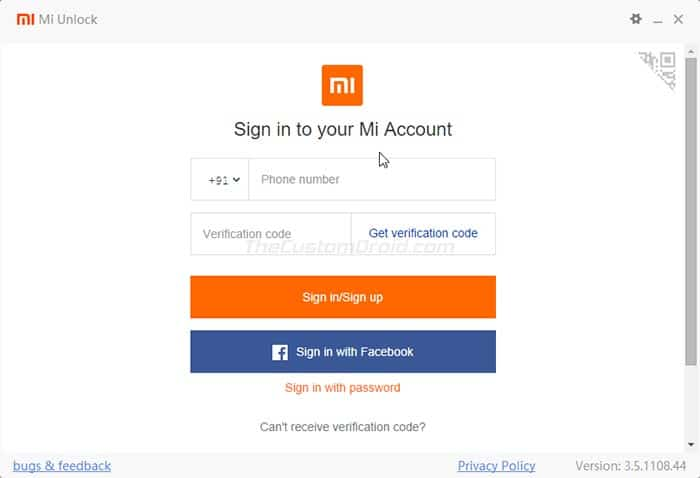 Log in to your Mi account in the Mi Unlock Tool