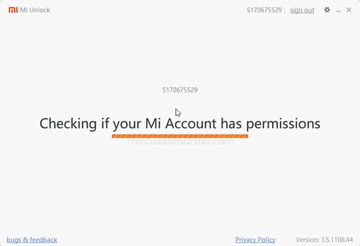 Mi Unlock Tool verifying your Xiaomi Device