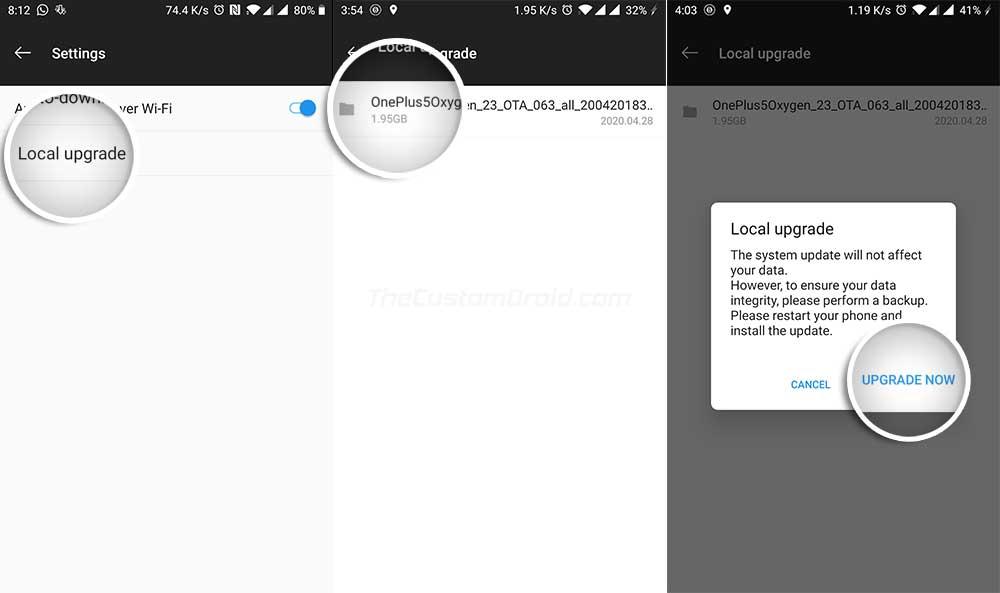Нажмите «Обновить сейчас», чтобы установить открытую бета-версию OxygenOS 10 на OnePlus 5 / 5T с помощью локального обновления.