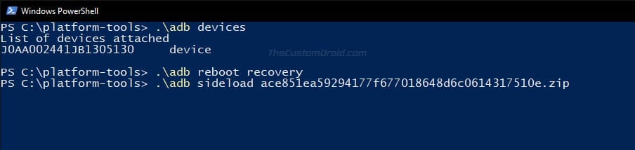 Enter ADB Sideload command to Install OTA Update on Nokia 5.1 Plus