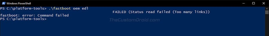 Enter 'fastboot oem edl' command to boot your device into EDL Mode