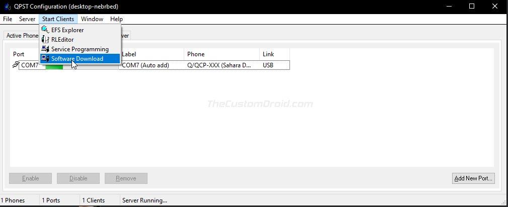 Launch Software Download Program through QPST Config