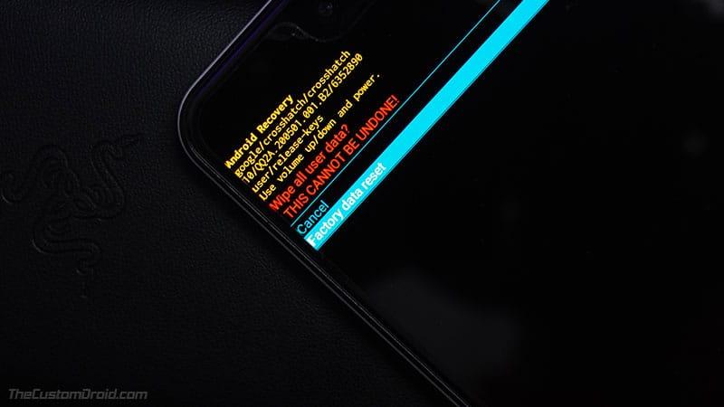 Выполните сброс к заводским настройкам с помощью стандартного восстановления на ROG Phone 2
