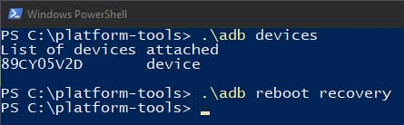 Enter ADB command in PowerShell to boot Realme 6 Pro into Recovery Mode