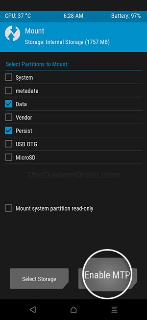 Enable MTP in TWRP on Realme 6 Pro
