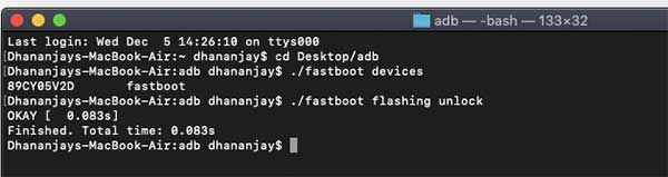 Enter Fastboot Command on macOS/Linux PC to Unlock Bootloader on Realme X50 Pro