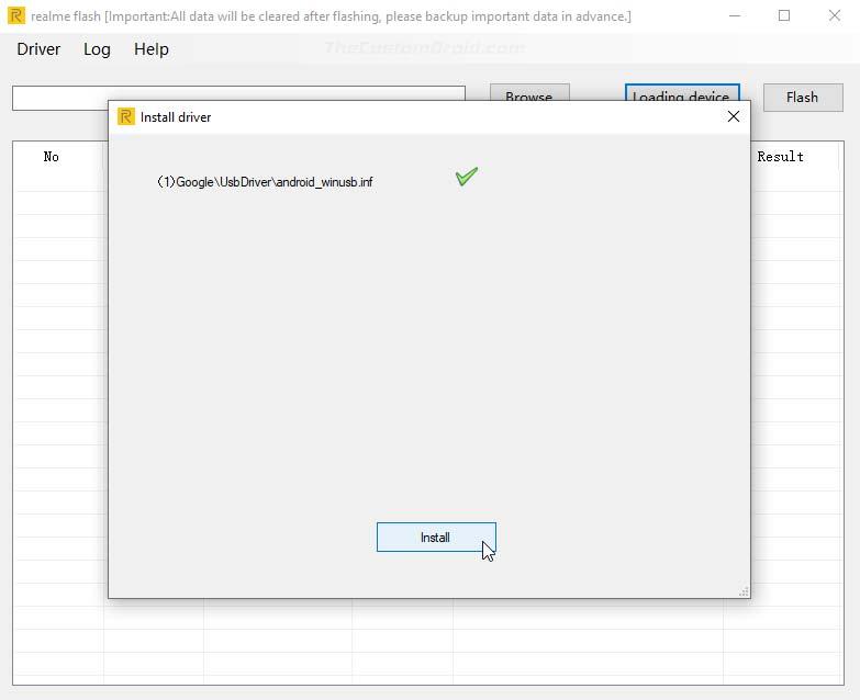 Установите USB-драйверы через Realme Flash Tool