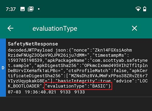 Analyze log file to check 'evaluationType' and verify SafetyNet hardware attestation