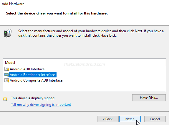 "Click ""Next"" to manually install MediaTek USB VCOM drivers on your PC"