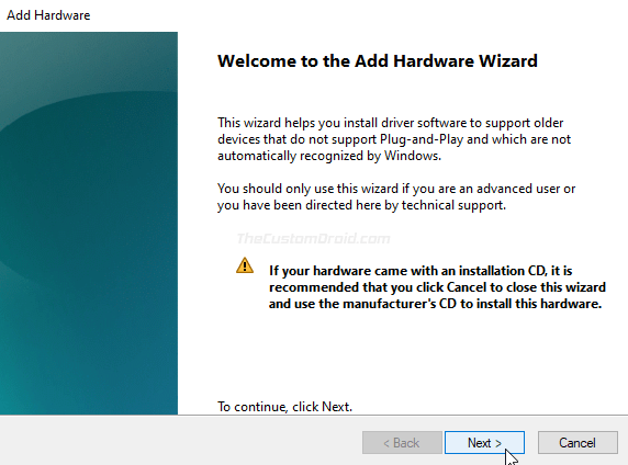 Add Hardware Wizard on Windows