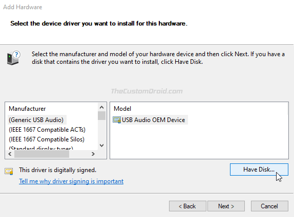 """Click """"Have Disk"""""""