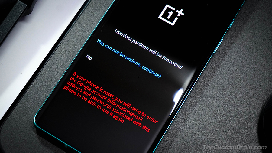 Подтвердите сброс к заводским настройкам на OnePlus 8 (Pro)
