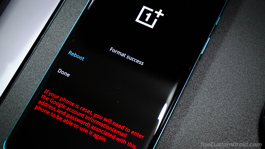 OnePlus 8 (Pro) Factory Reset Successful