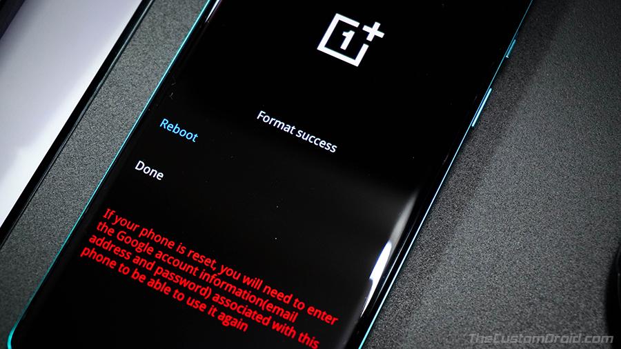 OnePlus 8 (Pro) Сброс заводских настроек выполнен успешно