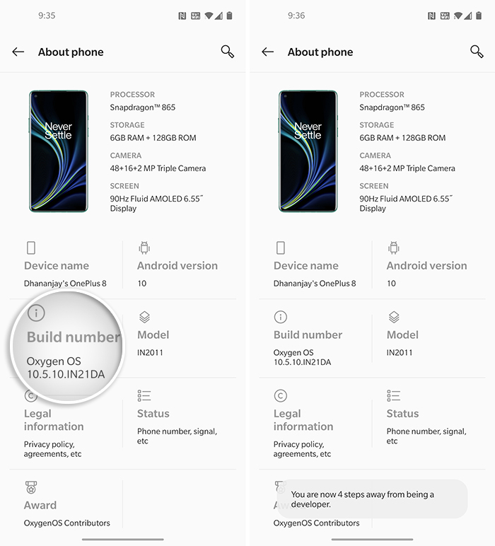 Repeatedly tap on 'Build number' to enable Developer Options on OnePlus 8 (Pro)