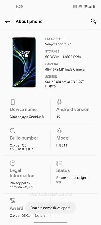 Developer Options successfully enabled on OnePlus 8 (Pro)