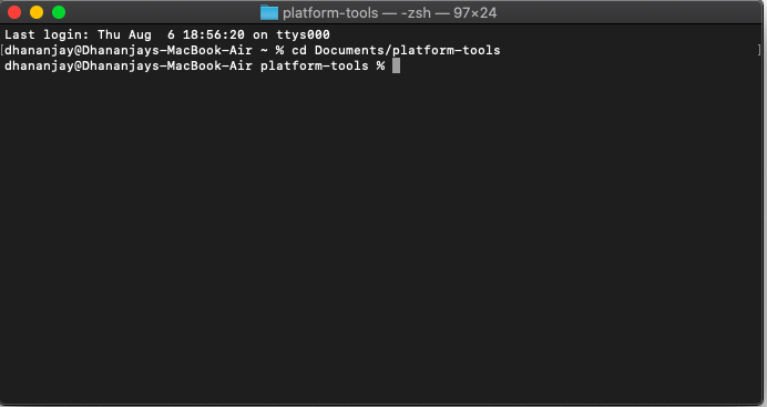 Launch Terminal inside 'platform-tools' folder on Mac/Linux PC