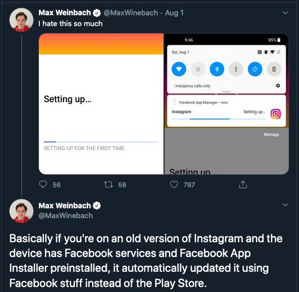 XDA Max Weinbach's tweet on OnePlus Facbook Bloatware