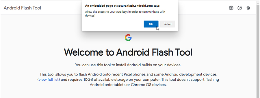 Android 11 Android Flash Tool - Allow USB Debugging Connection