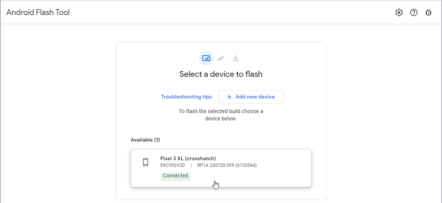 Select connected Google Pixel device for flashing Android 11